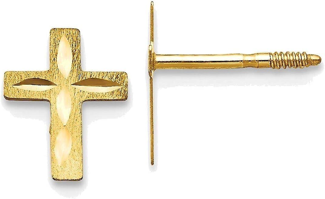Madi K Diamond Cut Cross Earrings in 14K Yellow Gold