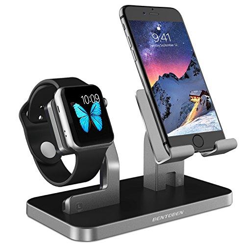 BENTOBEN Support Téléphone, Support iWatch Series 1234, Support Tablette, 2  in 1 DIY Dock Chargement Bureau Résistante Plastique pour ...
