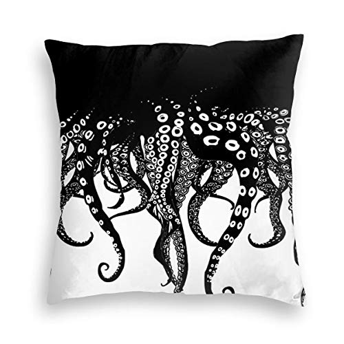 Feamo Octopus Tentacle Velvet Soft Decorative Square Throw Pillow Covers Cushion Case Pillowcases for Sofa Chair Bedroom Car 18X18inch