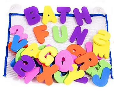 36 Letras y números de baño con organizador. Los mejores juguetes de baño educativos con organizador premium y no tóxico sin BPA en las letras de foami. El regalo perfecto para los niños.