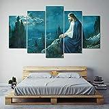 DBFHC Cuadro En Lienzo 5 Piezas Pintura Jesús Orando Cristiano Moderno Fotos Material Te Jido No Tejido Arte Pared Decoración Hogareña Impresió