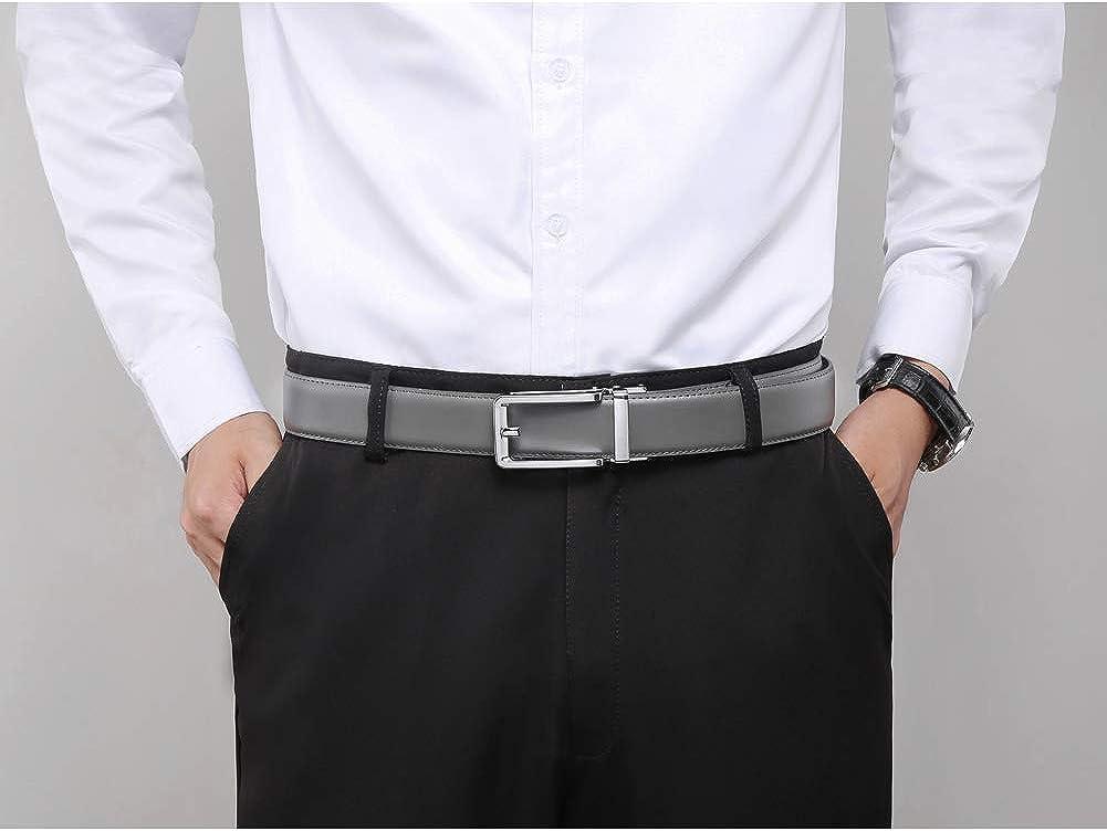 Men's Leather Ratchet Comfort Click Belt Dress with Slide Buckle -Adjustable Trim to Fit