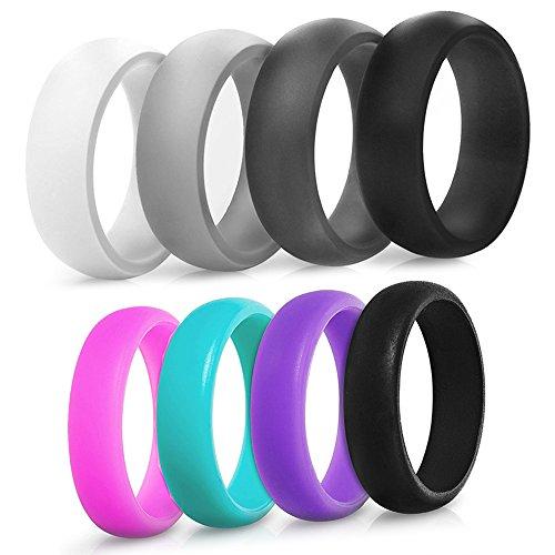 Saco Band Silicone Ring Wedding Band for Men and Women - 4 Pack (Men: Black, Dark Grey, Grey, Light Grey, 8.5-9 (18.9mm))