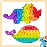 Hoqque Popit Fidget Toy Set Spielzeug 2 Pcs Push Bubble Sensory Antistress Pack Spiel Regenbogen Stressabbau Anti Stress Rainbow Bunt für Erwachsene Kinder ADHD Geschenk Triceratops Wale