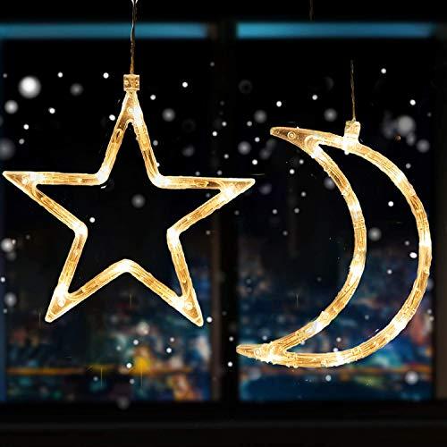 4 Piezas Luz de Ventana Navidad para Colgar en la Ventana con...