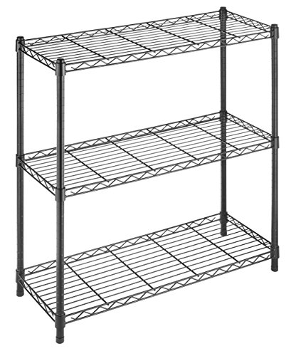 Whitmor Supreme 3 Tier Shelving with Adjustable Shelves and Leveling Feet - Black