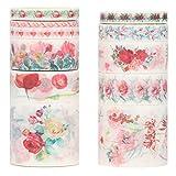 Molshine Floral Washi Masking Tape Set of 10, Spring Flower...