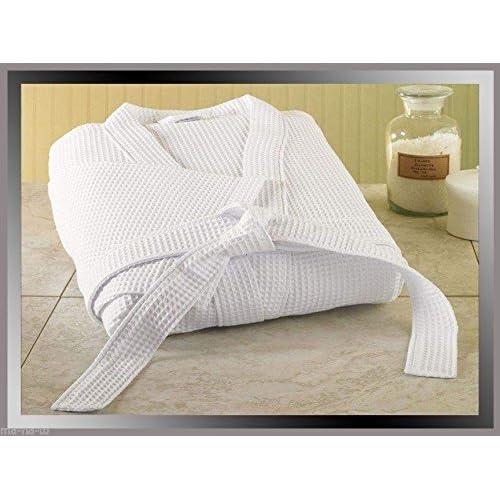 3599075702 WAFFLE WEAVE WHITE HOTEL QUALITY UNISEX BATHROBE DRESSING GOWN 100% TURKISH  COTTON