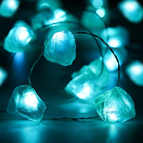 Blue Fluorite Fairy String Light, 10ft 30 LEDs Dreamy Crystal Decoration Battery Powered with 12 Modes, Remote and Timer Decor for Girls Bedroom Festive Birthday