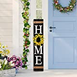 """Glitzhome Wooden Welcome Sign for Front Door Porch Rustic Farmhouse Wall Hanging Home Sign with 3 Changeable Floral Wreath for Spring Easter Summer Fall Thanksgiving Christmas, 42""""H, Black"""