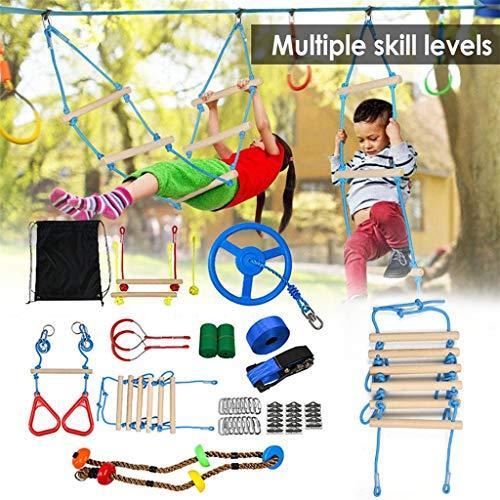 N\ A Kids Obstacle Course Set, Ninja Warrior Obstacle Course for Kids, Ninja Warrior Line Obstacle Course Kit Slackline Hanging Obstacle Training Equipment Ninja Toys Juego de 9 Piezas B