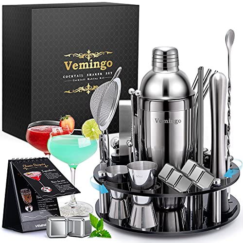 Vemingo Cocktail Set Shaker | Shaker da 750 ml con set regalo in acciaio inossidabile 4 pietre di whisky | Supporto acrilico rotante a 360° | Cocktail Shaker Cocktail Bar Set Cocktail Mixer 34 pezzi