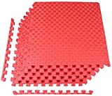BalanceFrom 1' Extra Thick Puzzle Exercise Mat with EVA Foam Interlocking Tiles for MMA, Exercise, Gymnastics and Home Gym Protective Flooring (Red)