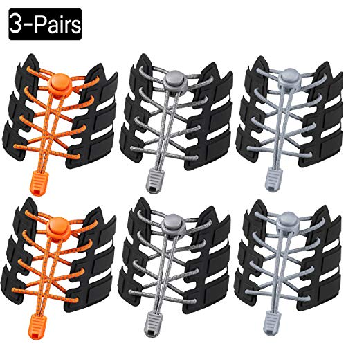 ZhangShi Elastic No Tie Shoelaces [3 Pair] for Kids and Adults Adjustable Stretch Shoelaces Rubber Tieless Elastic Shoelaces with Lock Device for Running Hiking
