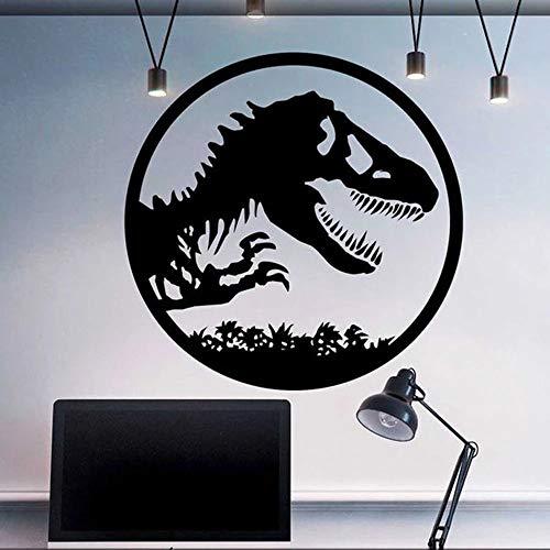 WERWN Dinosaurio Pared Mundo Ventana Pared Vinilo Familia niños habitación decoración Manga Corta Pared Mural