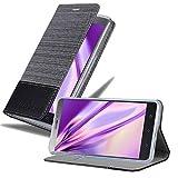 Cadorabo Hülle für Lenovo P2 in GRAU SCHWARZ - Handyhülle mit Magnetverschluss, Standfunktion & Kartenfach - Hülle Cover Schutzhülle Etui Tasche Book Klapp Style