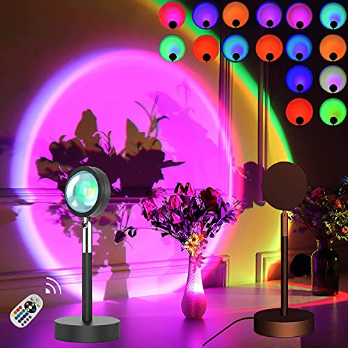 LYJYY Sunset Lamp Projector 16 Color LED Rainbow Sunset Projection Light Remote Control Sun Light...
