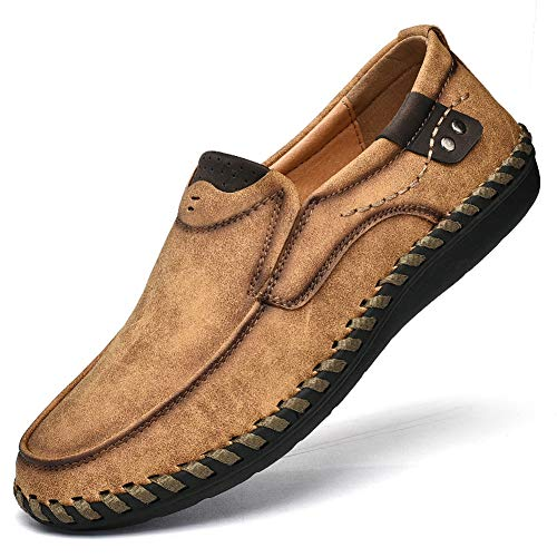 Men's Penny Loafers Premium Leather Casual Shoes Breathable Driving Shoes Flats Boat Shoes Slip on (US Men 7.0, Brown)