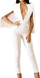 Women's Plunge Deep V Neck Slim Double Breasted Poncho Coat Tailored Blazer Jumpsuit Pants Suit Plus Size