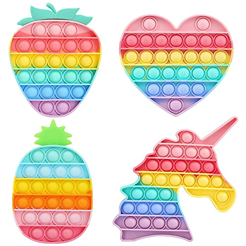 HiUnicorn 4 Pack Poppers Pop Sound Fidget Toys Gifts for Girls, Rainbow Unicorn Push Bubble Popping...