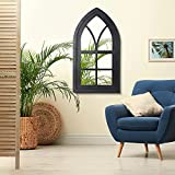 Glitzhome 40' H Cathedral Arched Windowpane Wall Mirror Window Frame, Black
