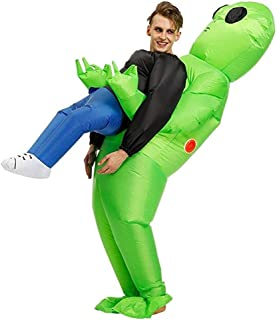 Inflatable ET Monster Costume Scary Green Alien Cosplay Costume for Woman Adult Masquerade Halloween Party Festival Stage Performance