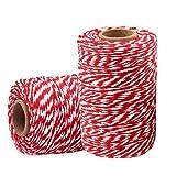 Cuerda roja para envolver regalos (rojo, 2 rollos, 20 m)