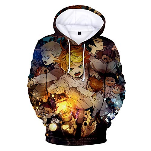 YZJYB The Promised Neverland Hombre Sudaderas con Capucha Emma 3D Divertida Hoodie con Mangas Largas Streetwear Sweatshirts Bolsillos con Cordn,X~Small