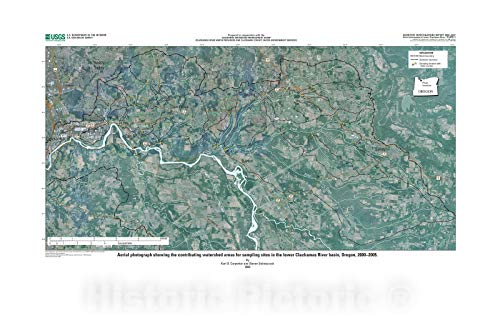 Historic Pictoric Map : Pesticide Occurrence and Distribution in The Lower Clackamas River Basin, Oregon, 2000-2005, 2008 Cartography Wall Art : 36in x 24in