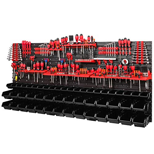 Estantería de pared para taller, 1728 x 780 mm, sistema de almacenamiento con soportes para herramientas y cajas apilables, placas de pared extrafuertes
