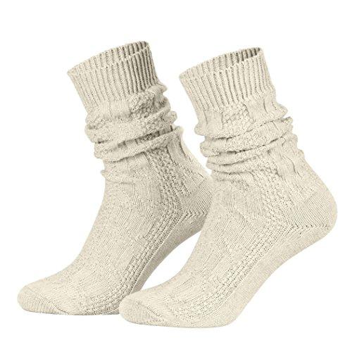 Piarini 1 Paar Trachtensocken Herren - kurze Shoppersocke mit Zopfmuster Damen - Lederhosensocken Baumwolle beige meliert 43 44