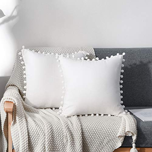 CAWANFLY 2 Packs Cute Pompom Cushion Covers 18x18 Inch Soft Square Decorative Throw Pillowcases for Livingroom Home Sofa Couch Bed Decor (18'X18', White)