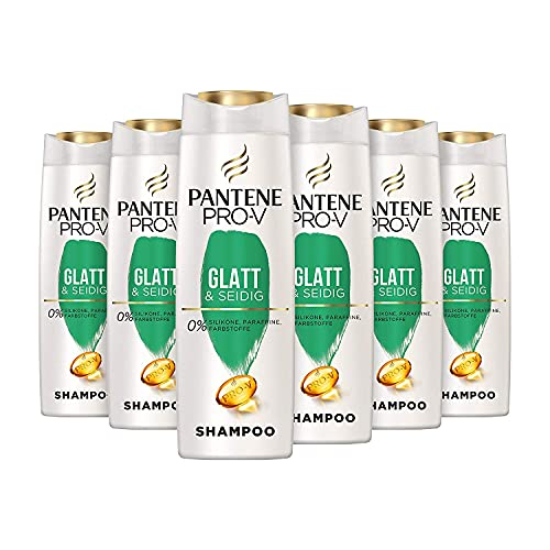 Pantene Pro-V Glatt & Seidig Shampoo Für Widerspenstiges Haar, 6er Pack (6 x 300 ml), Shampoo Damen, Haarpflege Glanz, Anti-Frizz Shampoo, Ohne Silikon, Beauty