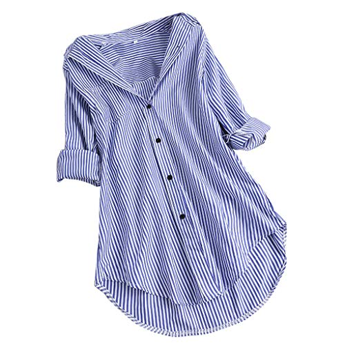 LOPILY Gestreifte Bluse Damen Verstellbare Ärmel Shirts aus Baumwolle V-Ausschnitt Oberteile Freizeit Tunika für Mollige Arbeitsbluse 46 Lässige Lose Tshirts Long Shirts Damen Herbst (Himmelblau, 40)