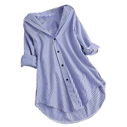 Zegeey Damen Kurzarm Oberteil T-Shirt Rundhals Ausschnitt Baumwolle Und Leinen Cat Drucken Asymmetrischer Saum Lose LäSsige Bluse Hemd Shirt Blusen Locker Basic Tops(C2-Himmelblau,XXL)