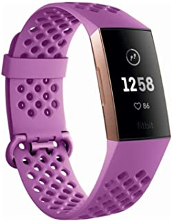 Fitbit Charge 3, Advanced Fitness Tracker, with Heart Rate, Swim Tracking & 7 Day Battery, Rose Gold/Berry