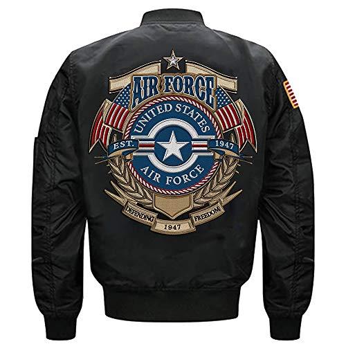 U.S. Air Force 1947 MA-1 Flight Embroidered Bomber Jacket (Black, XXXXL)