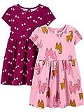 Simple Joys by Carter's 2-Pack Short-Sleeve and Sleeveless Dress Sets Infant Toddler-Playwear, Cerises/Lamas, US 2T (EU 92-98)