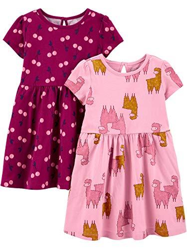 Simple Joys by Carter's Mädchen 2-Pack Short-Sleeve and Sleeveless Dress Sets, 2er-Pack,Kirschen/Lamas,2T