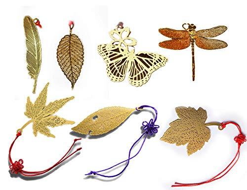 Segnalibro metallico con nappe e busta - Pagina Amupper Kawaii Leaf Book Markers per libri Cartoleria Forniture scolastiche, confezione da 7