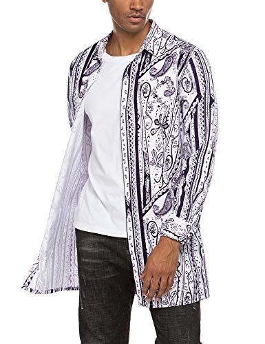 MAXMODA - Camisa de manga larga para hombre con estampado de cachemira, corte regular