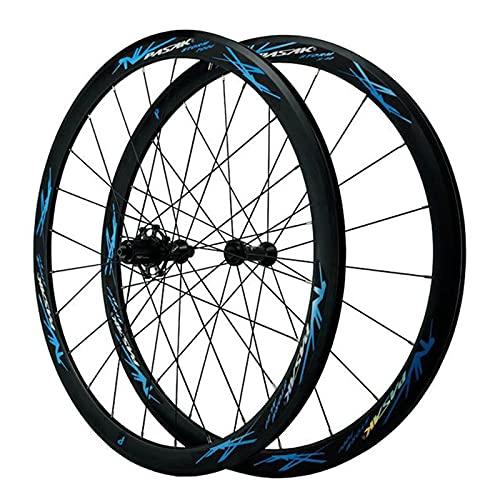 zyy Rueda de Bicicleta 700c Juego de Ruedas Bicicleta de Carretera Doble Pared Aleación 40mm C/V- Freno Liberación Rápida 7 8 9 10 11 12 Velocidades (Color : Blue)