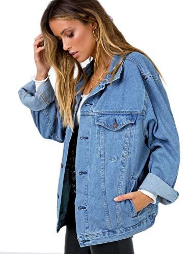Womens Oversize Vintage Jean Light Blue Denim Jacket