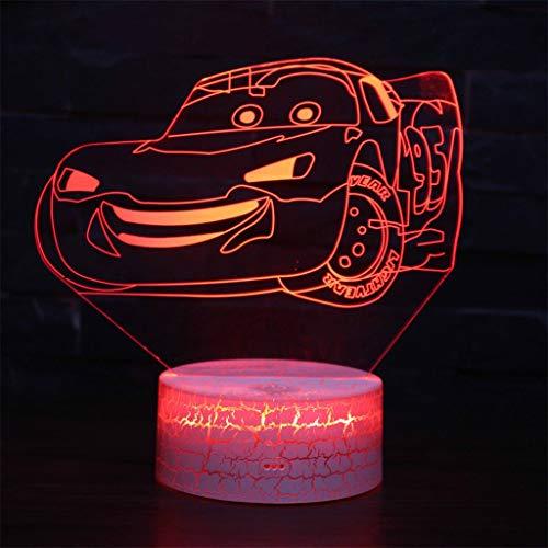 Mobilisation de voiture 3D lumière de nuit simple/LED simple, lumière de sculpture d'art de contact de couleur 7, panneau acrylique, base ABS, câble USB