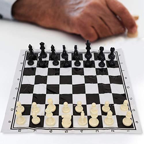 FEBT Ajedrez, Juego de Tablero de ajedrez Internacional de plástico portátil de 40 x 40 cm para Amantes del ajedrez, niños