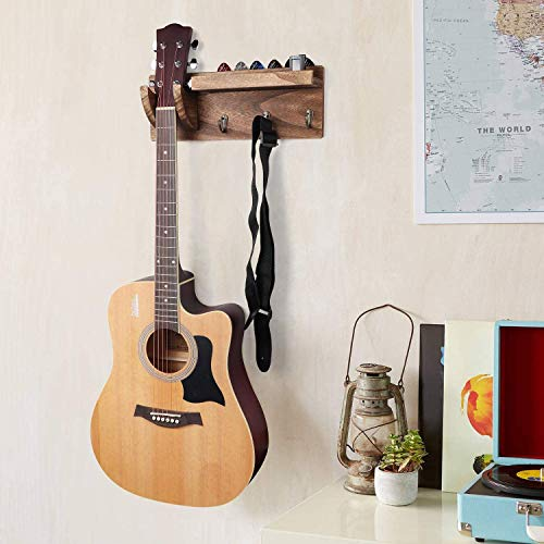 Premium Wood Guitar Wall Hanger by Best Bracket Holder Rack with Pick Holder and 3 Hooks – for Professional and Beginner Guitar Players