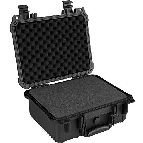 TecTake 800574 - Universalbox Kamera-Schutzkoffer, Leichte und Robuste Hartschale aus Kunststoff, 3 Schaumstoffeinlagen - Diverse Größen (M | Nr. 402870)