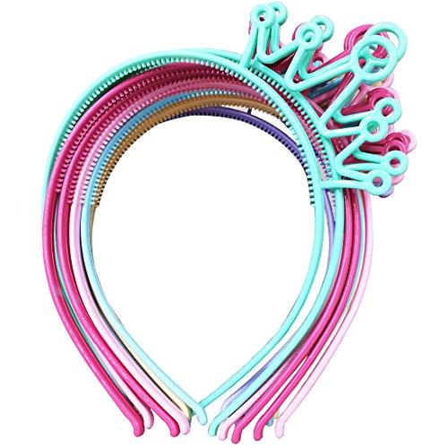 XIMA 12 Stück Federfarben ABS-Kunststoff Material Krone Mädchen Stirnbänder Tiaras Stirnband Prinzessin Kinder Headear Haarschmuck (SP-Crown)