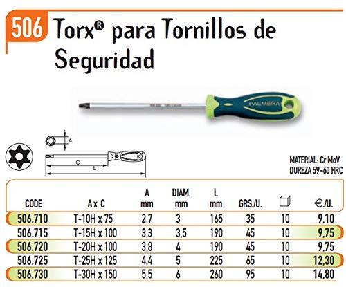 ECOSPAIN Destornillador Torx Palmera Seguridad (Modelo H-25 506.725)