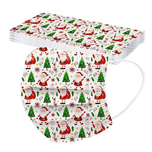 10/50 Stück Einmal-Mundschutz Mund und Nasenschutz 3-lagiger Mundschutz Weihnachtsmotiv Erwachsene Atmungsaktiv Staubs-chutz Mundbedeckung für Weihnachten (50 Stück, Mehrfarbig 3)